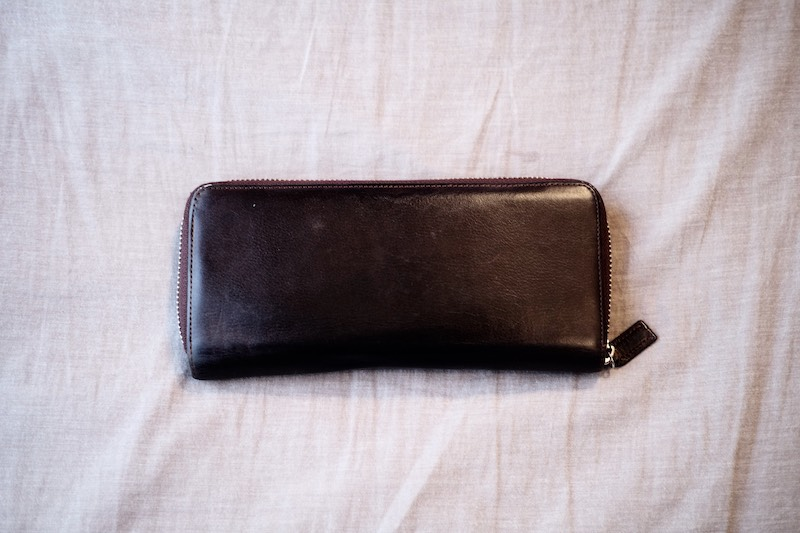 手入れ後の革財布