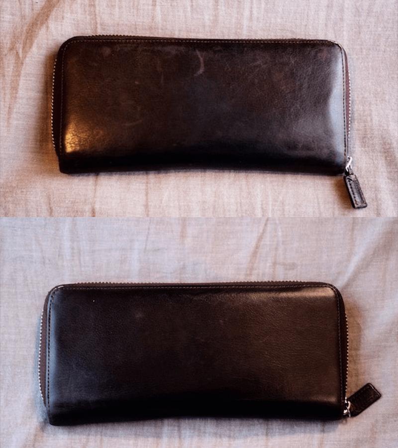 革財布の手入れによる財布全体の変化