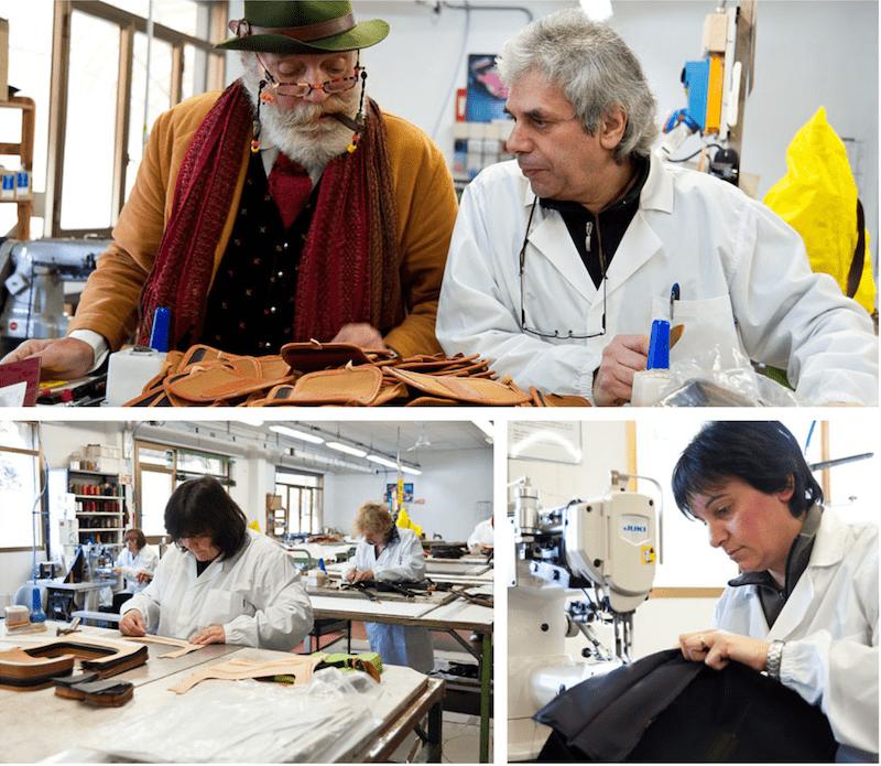 イルビゾンテの革財布の製造様子