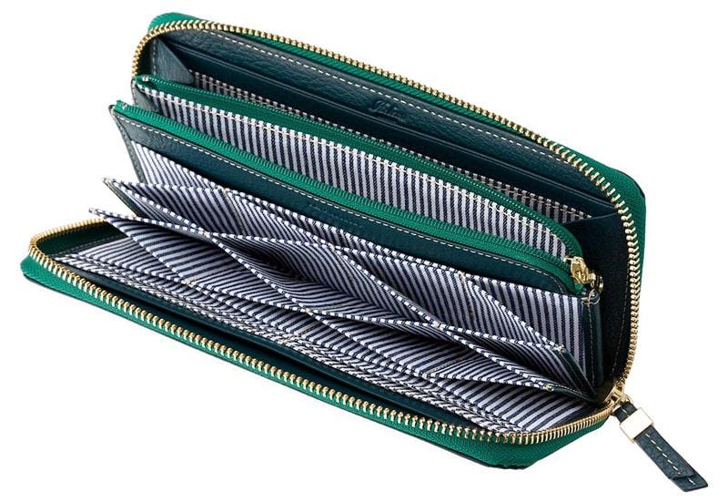 ヘレナ革財布のカード入れはハニーセル型になっている