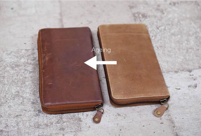 ハレルヤの革財布のエイジングの様子