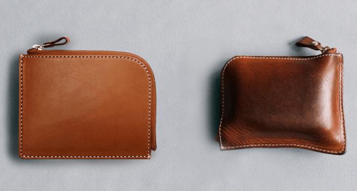 ヌメ革財布の経年変化の様子