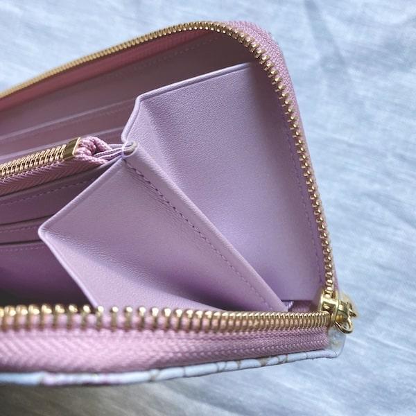 エーテルの長財布はコバがあるから大きく開く