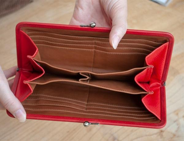 ゲンテンのレディースがま口財布の内装