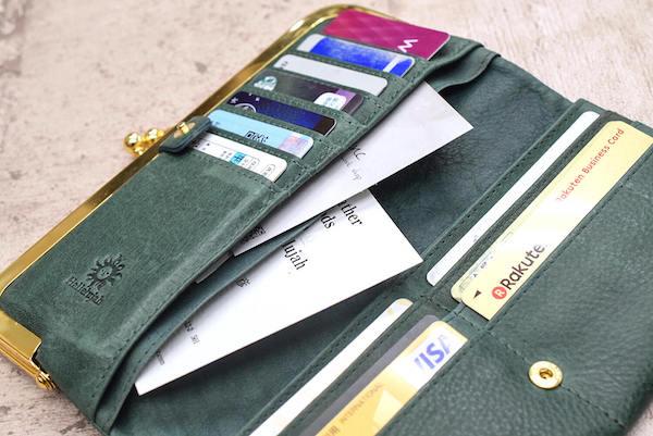 ハレルヤのレディースがま口財布の内装