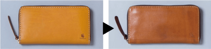 1万円台メンズ革財布「キソラ」の経年変化