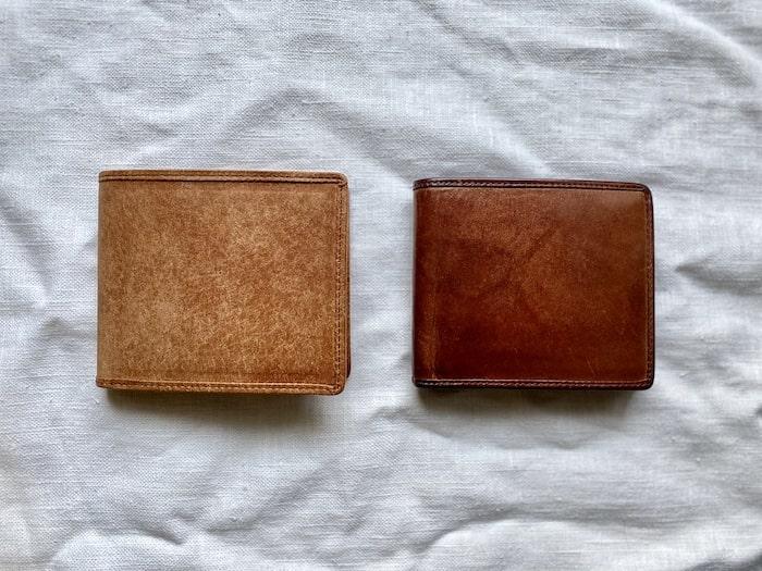sotプエブロ二つ折り財布を2年使った経年変化の比較
