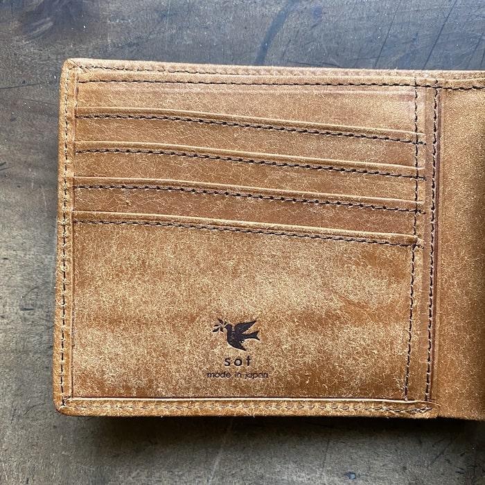 sotプエブロ二つ折り財布のカード入れ