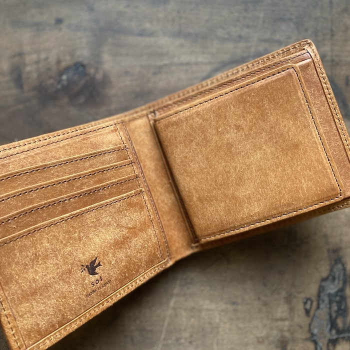 sotプエブロ二つ折り財布の内装