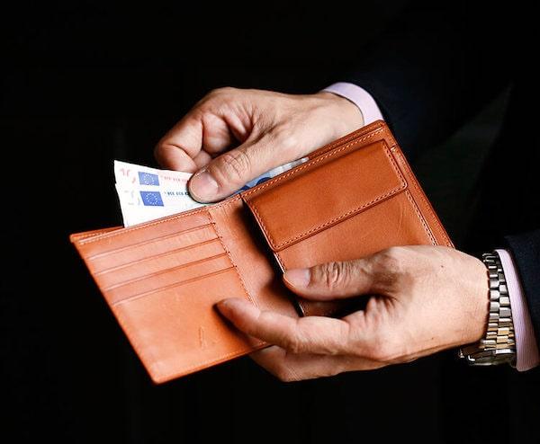 土屋鞄製造所のコードバン二折財布の内装