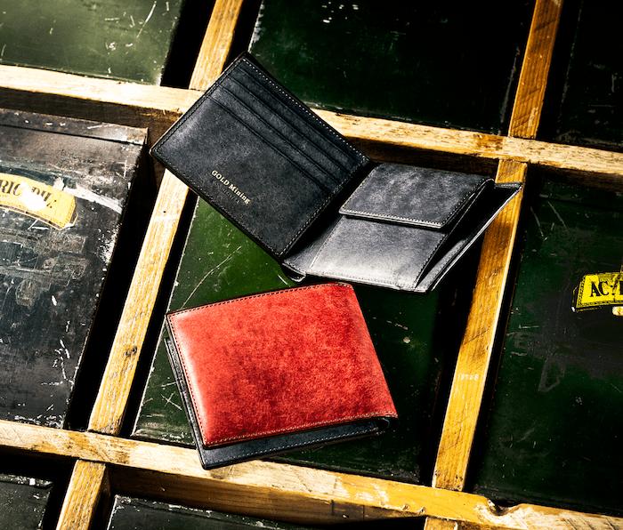 ココマイスターのゴールドマイニング二つ折り財布