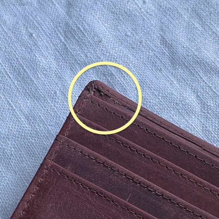 hallelujah二つ折り財布の縫製のほつれ