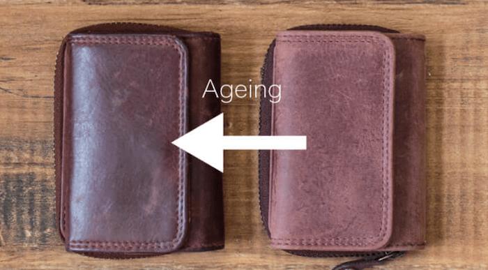 ハレルヤ「tinyミニ財布」のエイジング具合